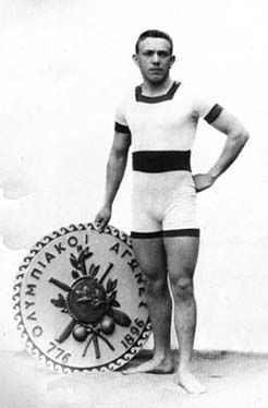 """1896 - Alfred Hajos (Hungary) - First Swimming Gold - The First Olympic Champion in swimming. A boat dropped everyone into the water in the icy waters of the Mediterranean. The first swimmer to shore won. """"My will to live completely overcame my desire to win"""" - Alfred Hajos."""