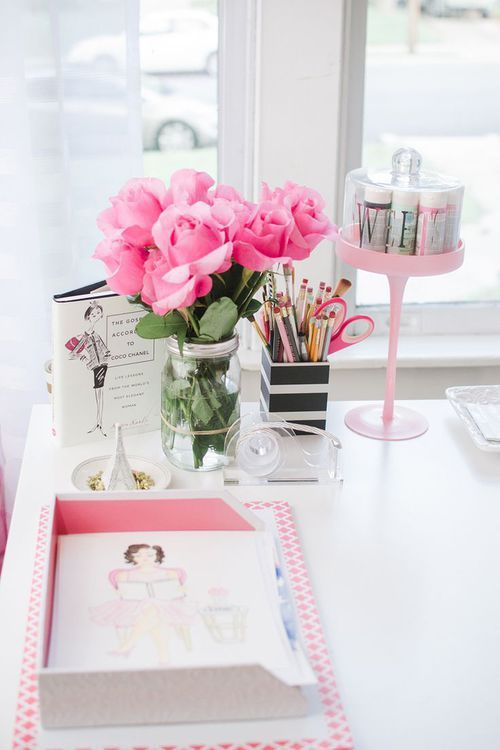 home office - workspace - decor - supplies - organizing - styling - details - white - girly