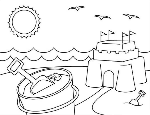 Summertime Playing Sand Castle On Summertime Coloring Page