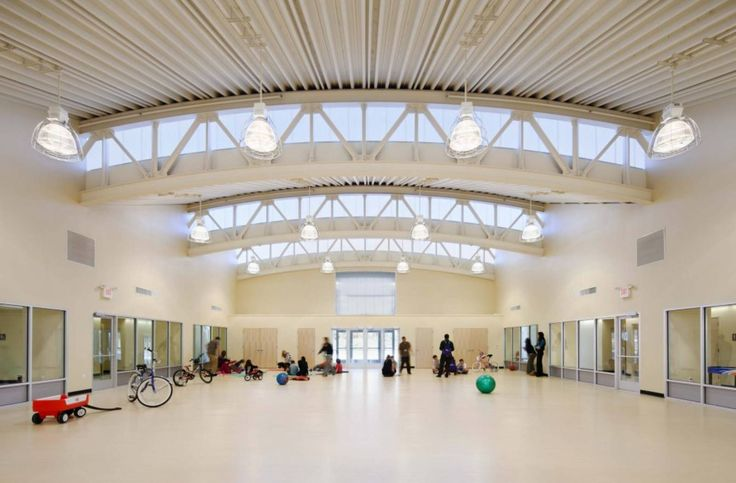 REED Academy - Pre-engineered metal building system, polycarbonate clerestories built into bow-trusses