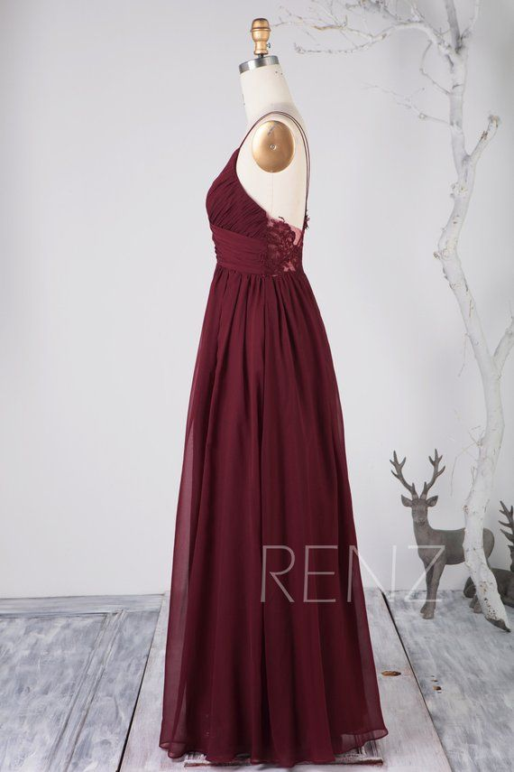 d5008b8572697 Bridesmaid Dress Wine Chiffon Dress,Wedding Dress,Spaghetti Straps ...