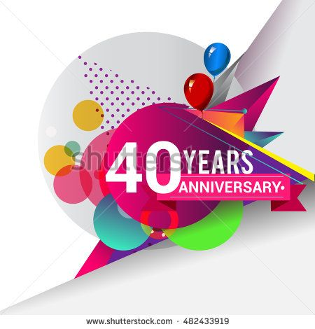 40 years Anniversary logo, Colorful geometric background vector design template…