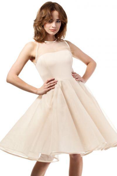 Beige evening dress with transparent neckline