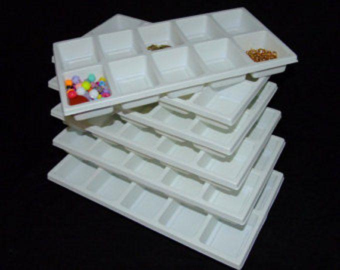 Lot Of 6 10 Slot Multipurpose Jewlery Sorting Trays White