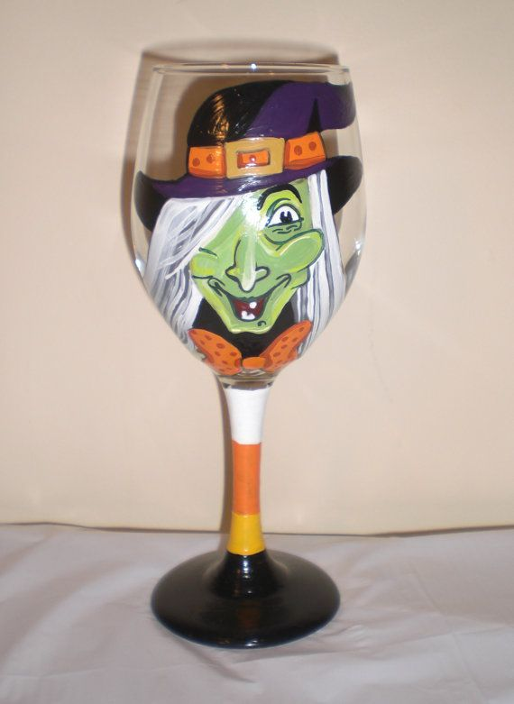 Hand Painted Witching Hour Halloween Wine Glass. by JordanFeesArt, $25.00