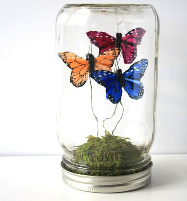 DIY Butterfly Terrarium.  Would be beautiful with real butterflies!
