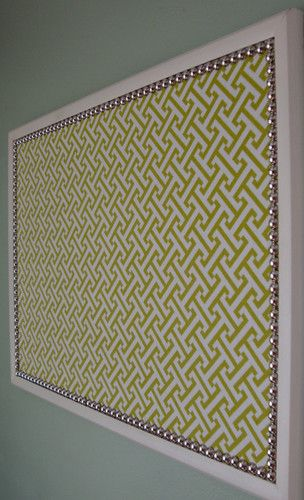 easy fabric covered bulletin board - i like the idea of the nailhead- for my new Hobby Room!