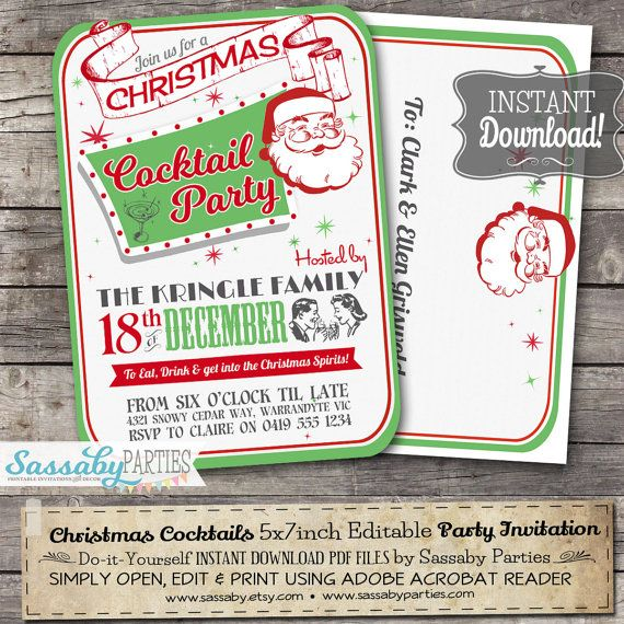 Retro Christmas Cocktail Party Invitation - INSTANT DOWNLOAD - Editable