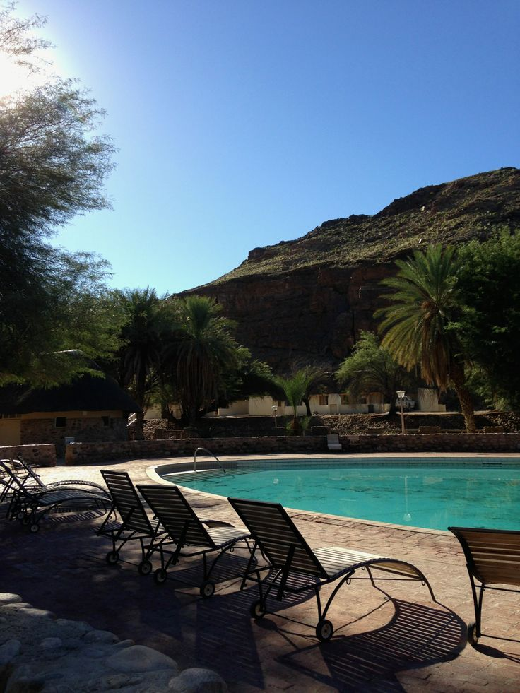 The hot water pool at Ai Ais. This is heaven for any traveler traveling throughout the hot Namibian desert area. Also a a nice place to relax the soar muscles after the five day Fish River Canon Hike.