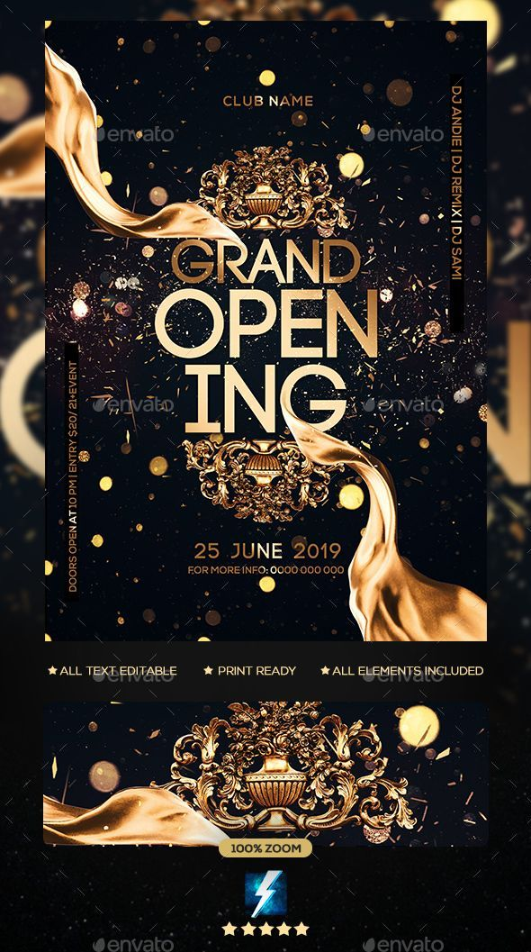 Grand Opening Party Flyer Template PSD