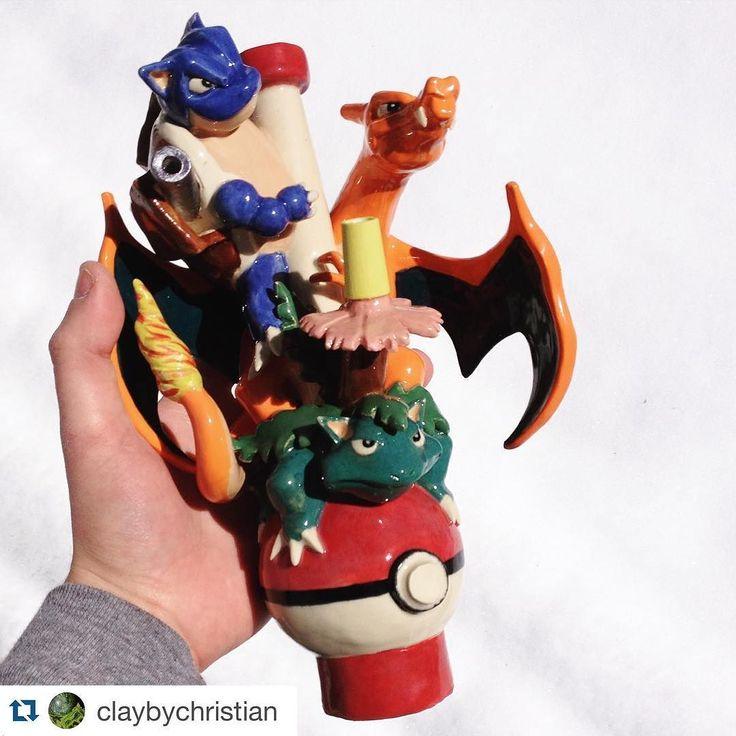 #Repost @claybychristian we love this bong so cool bro. #ceramics #pokemon #snow #pokebong