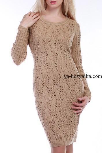 Платье-свитер спицами облагающего силуэта. Узор для платья спицами (2820) Похожее