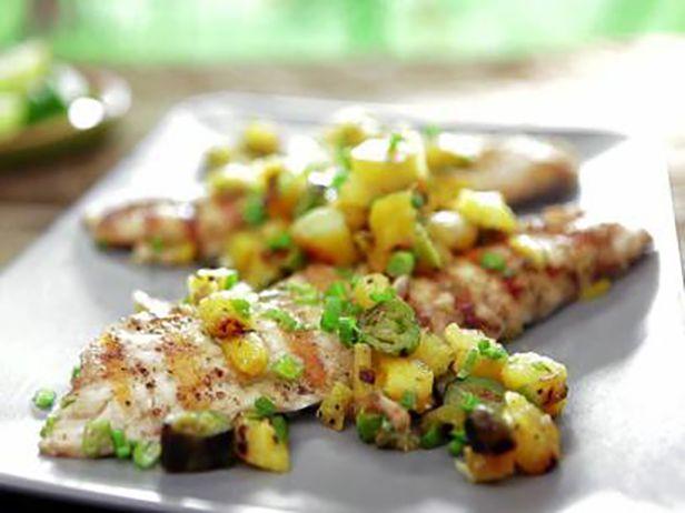 Pargo Grelhado com Manteiga de Abacaxi e Cebolinha Caramelizada - Food Network