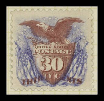 This 1869 stamp was the first American postage stamp to feature an American flag in its design.