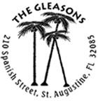 Palm Trees Return Round Address Stamp