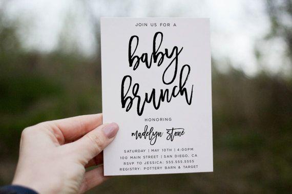 Baby shower brunch invitation Printable Baby shower invitation minimalist by lovelypapershop