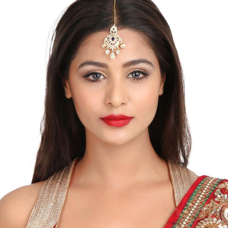 Zircon Tikka 55952BS #Kushals #Jewellery #FashionJewellery #IndianJewellery  #WeddingAccessories #Maang Tikka #Zircon