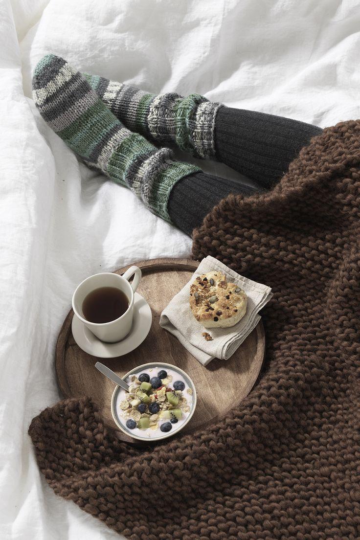 Cosy breakfast www.panduro.com Yarn by Panduro #socks #DIY #blanket