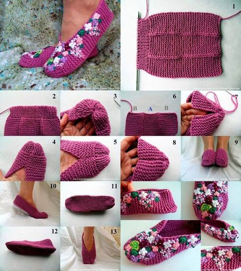 DIY : Knit Lilac Slipper Tutorial