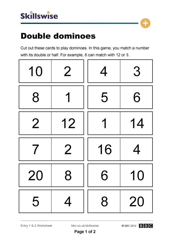 Doubles Halves Dominoes Math Doubling Halving Ks1 Maths