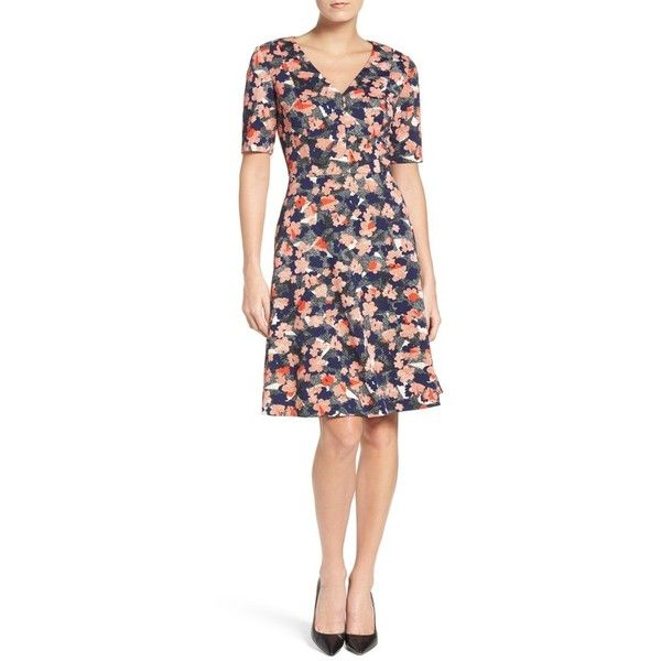 Women's Donna Morgan Floral Fit & Flare Dress (200 BAM) ❤ liked on Polyvore featuring dresses, petite, sleeved dresses, v neck pencil dress, floral fit-and-flare dresses, pencil dress and petite dresses