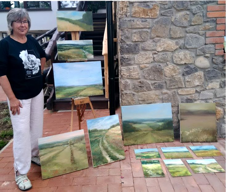 My artworks made in Świętokrzyskie Mountains on the open air painting, Poland, 2017