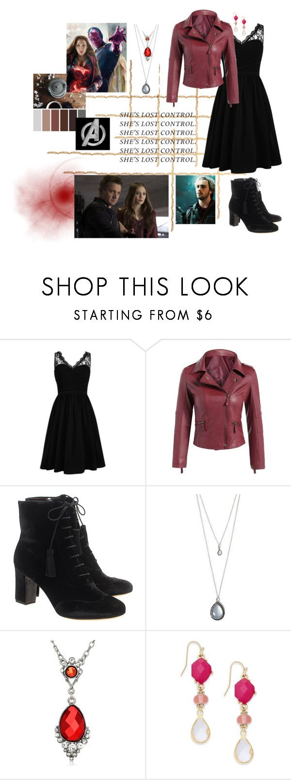 """Hello, my name is Wanda Maximoff"" by scorpion-sama ❤ liked on Polyvore featuring ...Lost, Quiksilver, Tabitha Simmons, Forever 21, 1928 and INC International Concepts"