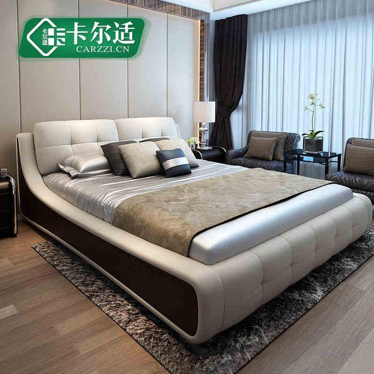 Карл подходит татами кровать кожа кровать двуспальная кровать 1,8 м двуспальная кровать мягкая кровать брачное ложе современная мебель для спальни кожаная кровать -tmall.com Lynx