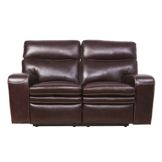 Jasper Leather Reclining Living Room Collection Power Reclining Loveseat in Brown