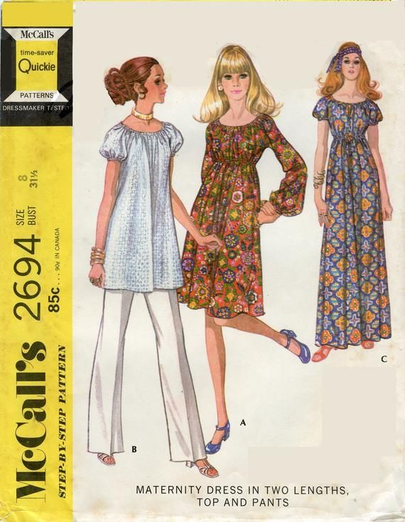 a372a95bd 1970s McCall's 2694 Misses Maternity Dress Top Pants Sewing Pattern Sleeve  & Length Variations High Elastic Waist Size 8 Bust 31.5