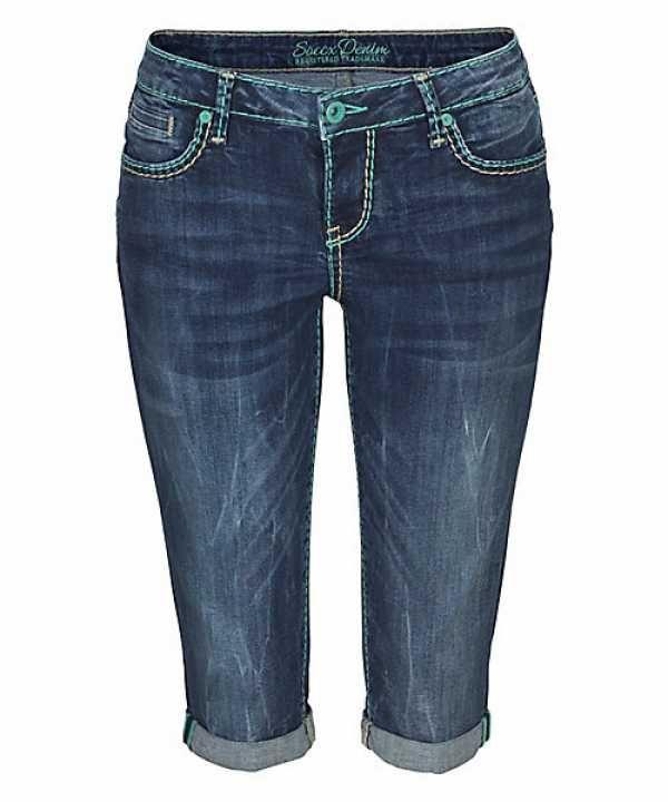 SOCCX Damen Jeans Bermuda kurze Hosen dark stone Damen