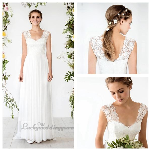 CAP SLEEVES SHEATH WEDDING DRESS WITH CUT OUT BACK