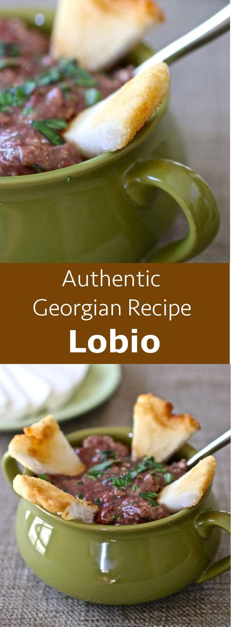 Lobio is Georgia's national dish. Lobio nigvzit, its most common version, is a thick soup with red beans, onions, walnuts and blue fenugreek. #vegetarian #glutenfree #soup #georgia #georgian