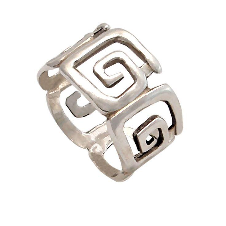 Greek key ring, meander, meandros, greek sterling silver ring
