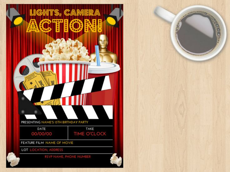 Digital Download Movie, Cinema, Show, Birthday Invitation, Kids, Children, Adult, Any Age, Film, Popcorn, Lights Camera Action, Red, Black by DesignsByMoniqueAU on Etsy