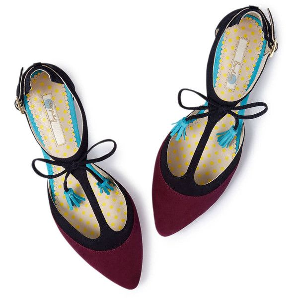 Boden Alice Flat ($74) ❤ liked on Polyvore featuring shoes, flats, обувь, boden shoes, t bar flats, denim shoes, boden and polka dot flat shoes