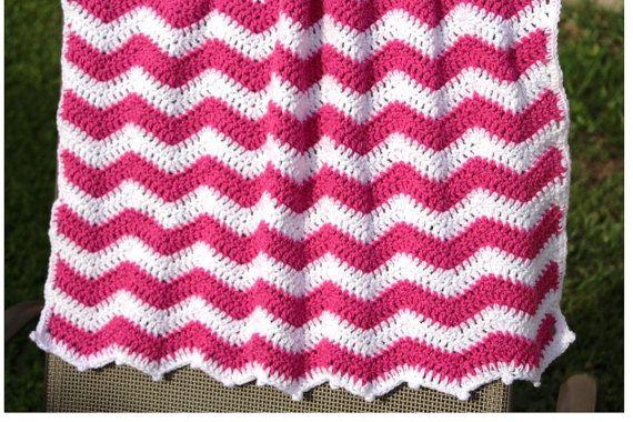 Hot Pink Chevron Baby Blanket Chevron Crochet Baby by CCBR2014