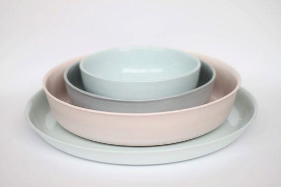 petit - nidification bol en porcelaine (couleur glacier)