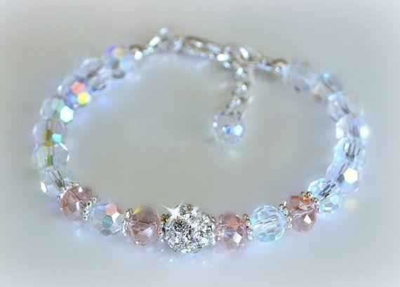 Crystal Clear And Pink Crystal Bracelet Pink Crystal Bracelet Crystal Beads Bracelet Purple Crystal Bracelet