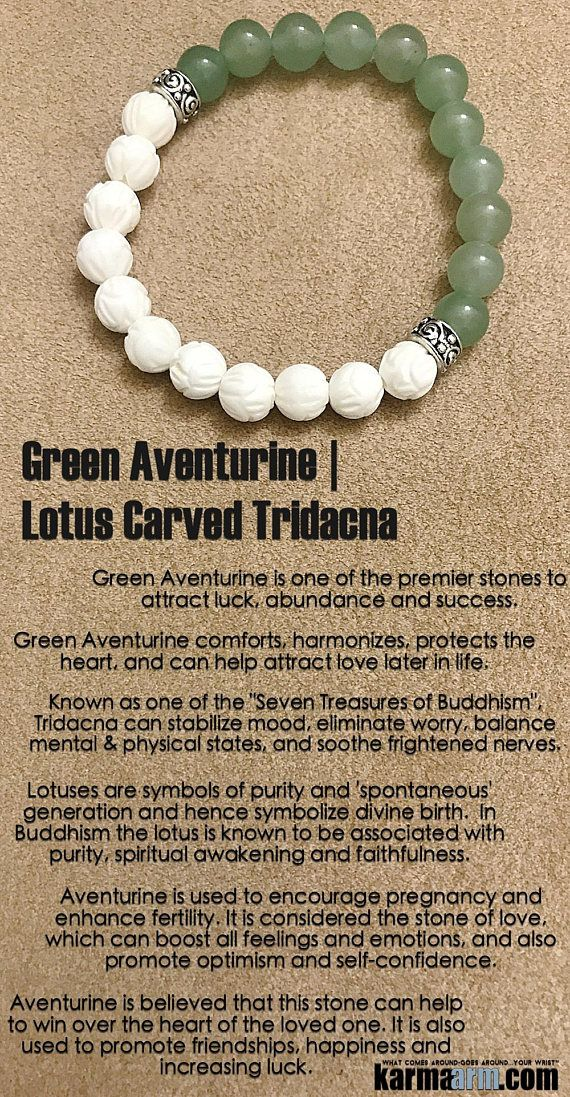 Green Aventurine is known as the good luck stone. It comforts, harmonizes, protects the heart, and can help attract love later in life. It is one of the premiere stones to attract luck, abundance and success. Green Aventurine. Lotus.  ..…..#Beaded #Bracelet #Yoga #Chakra #Charm #Mala #Stretch #Meditation #Jewelry. Energy Healing #Crystals #Stacks  #pulseiras #Bijoux .#Handmade #Reiki #Mala #Buddhist #Mens #Womens      ATTRACT LOVE: Aventurine Tridacna ॐ Yoga Beaded Bracelet