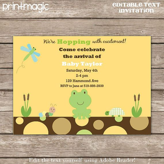 Pond Life Frog Baby Shower Invitation  Editable Text by printmagic