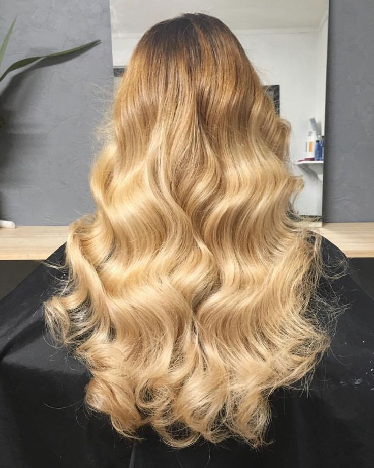 Golden ombré blonde curls waves hair by Charmaine