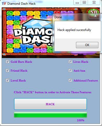 Diamond Dash cheats : GoldenBar, Friend, Level   Hack & Cheats