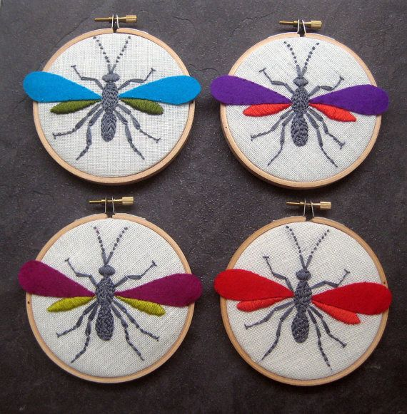 Wasp and Butterfly Hoop Art hand embroidered home by mlmxoxo