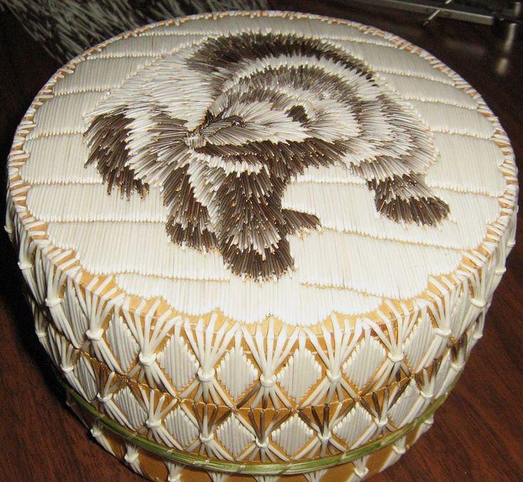 Wolverine, Porcupine Quill Art on Birch Bark Basket