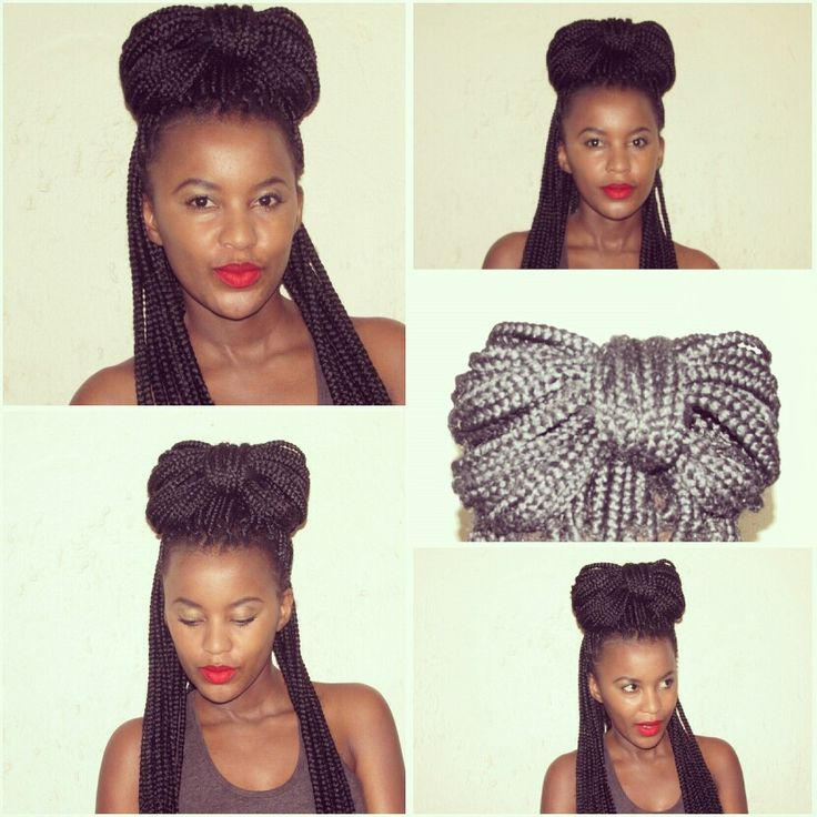 Box braids styling, bow. Mummy Mthembu- Fawkes. @misspeaches1000, natural hair