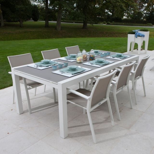 Gecko Jardin Table alu blanc et verre gris 220/330x106 cm Murray en ...