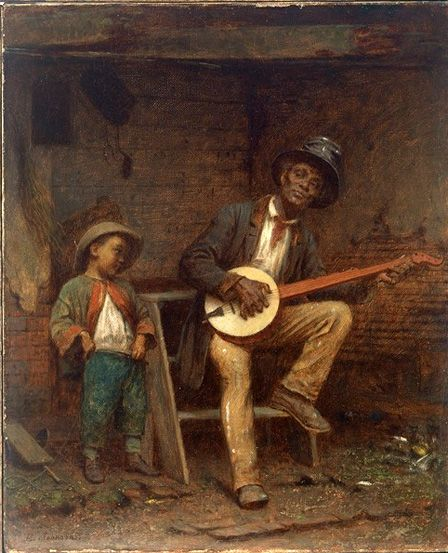 """Confidence and Admiration & Negro Life in the South: ca 1859. Both versions of Eastman Johnson's depiction of slave camaraderie & music-making might appear nostalgic & romantic. But as abolitionist (& former slave) Frederick Douglass emphasized to readers of his autobiography (1845): """"Slaves sing most when they are most unhappy."""""""