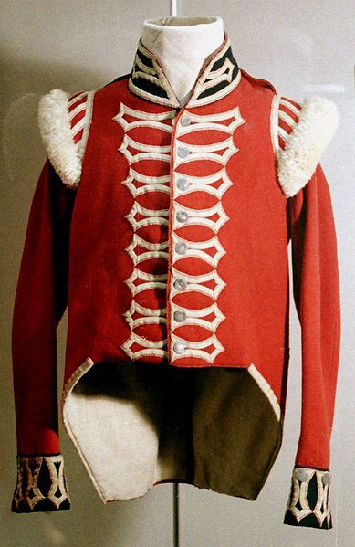 The uniform jacket of a private soldier of a flank company of the 42nd Regiment of Foot (circa 1815 or some later). Original item, not replica