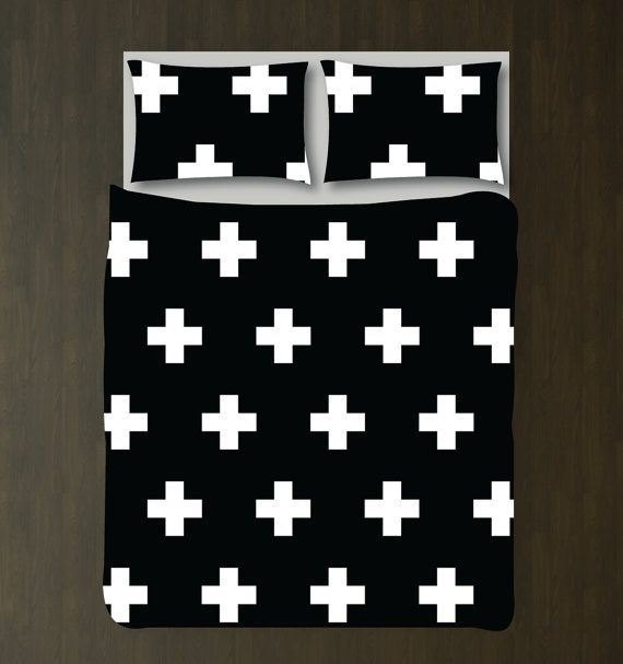 Swiss Cross Bedding Set-Custom Duvet Cover-Shams-Black and White-Customize Colors-Twin XL-Full/Queen-King-Scandinavian-Plus Signs-Size